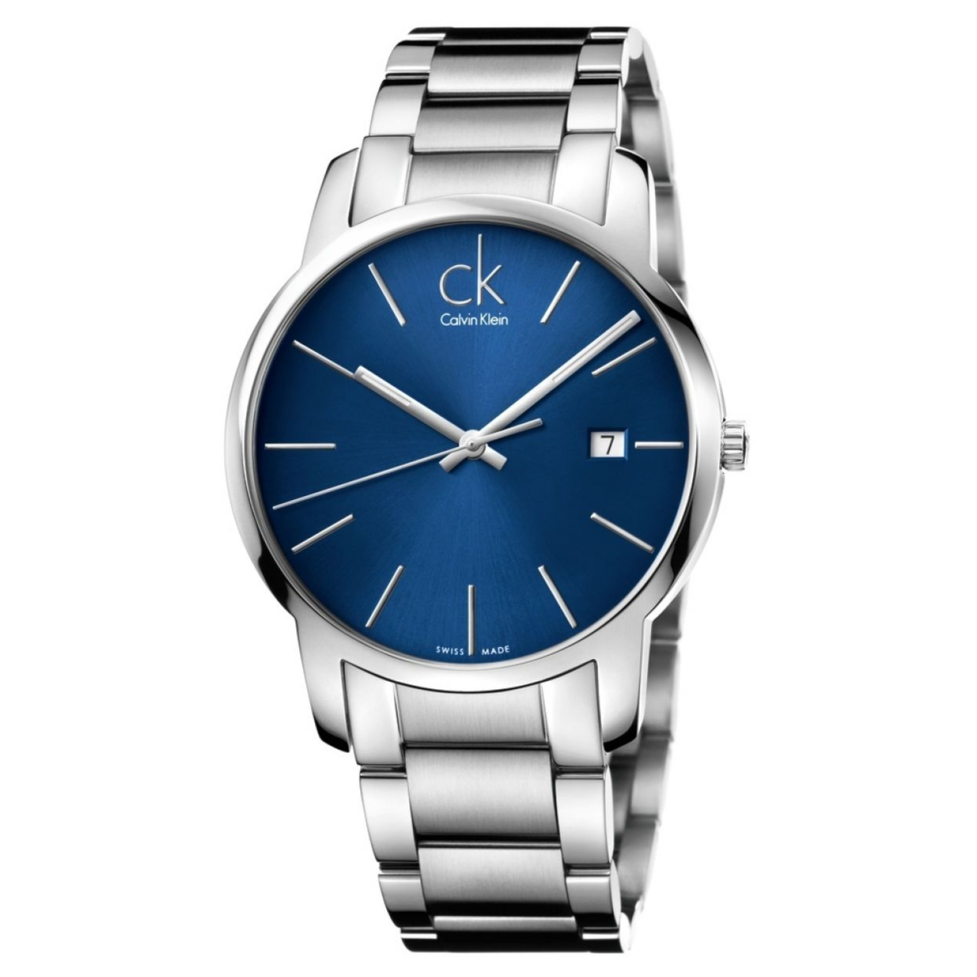 Calvin Klein City Date Men's Watch K2G2G14N | Blue Dial | Stainless Steel Strap