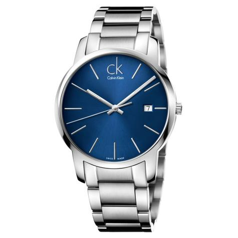 Calvin Klein City Date Men's Watch K2G2G14N | Blue Dial | Stainless Steel Strap Thumbnail 1