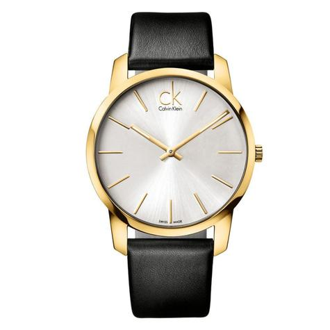 Calvin Klein City Men's Watch K2G21520 | PVD Gold Case Silver Dial | Leather Strap Thumbnail 1