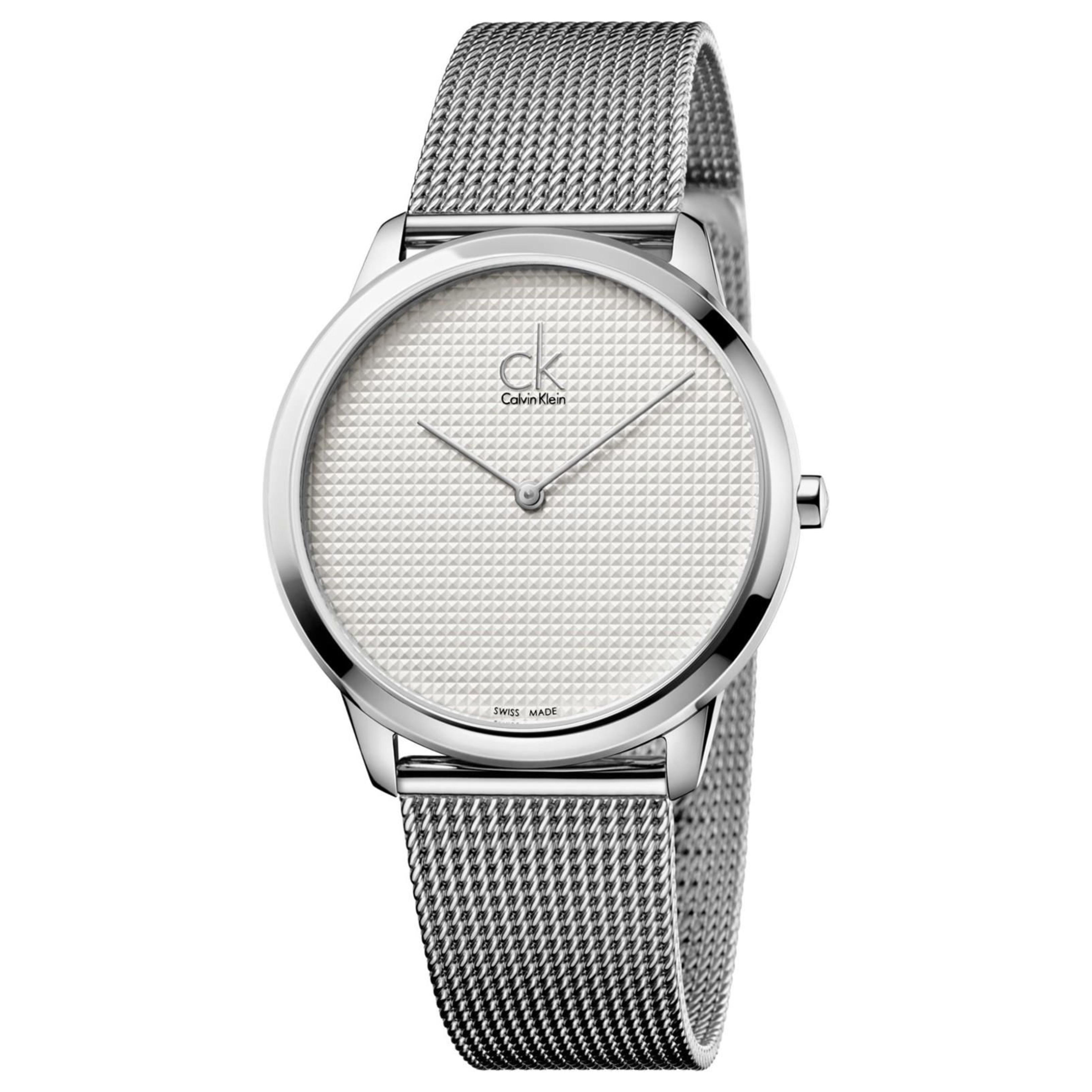 Calvin Klein Minimal Men's Watch K3M2112Y | Silver Dial | Stainless Steel Mesh Strap