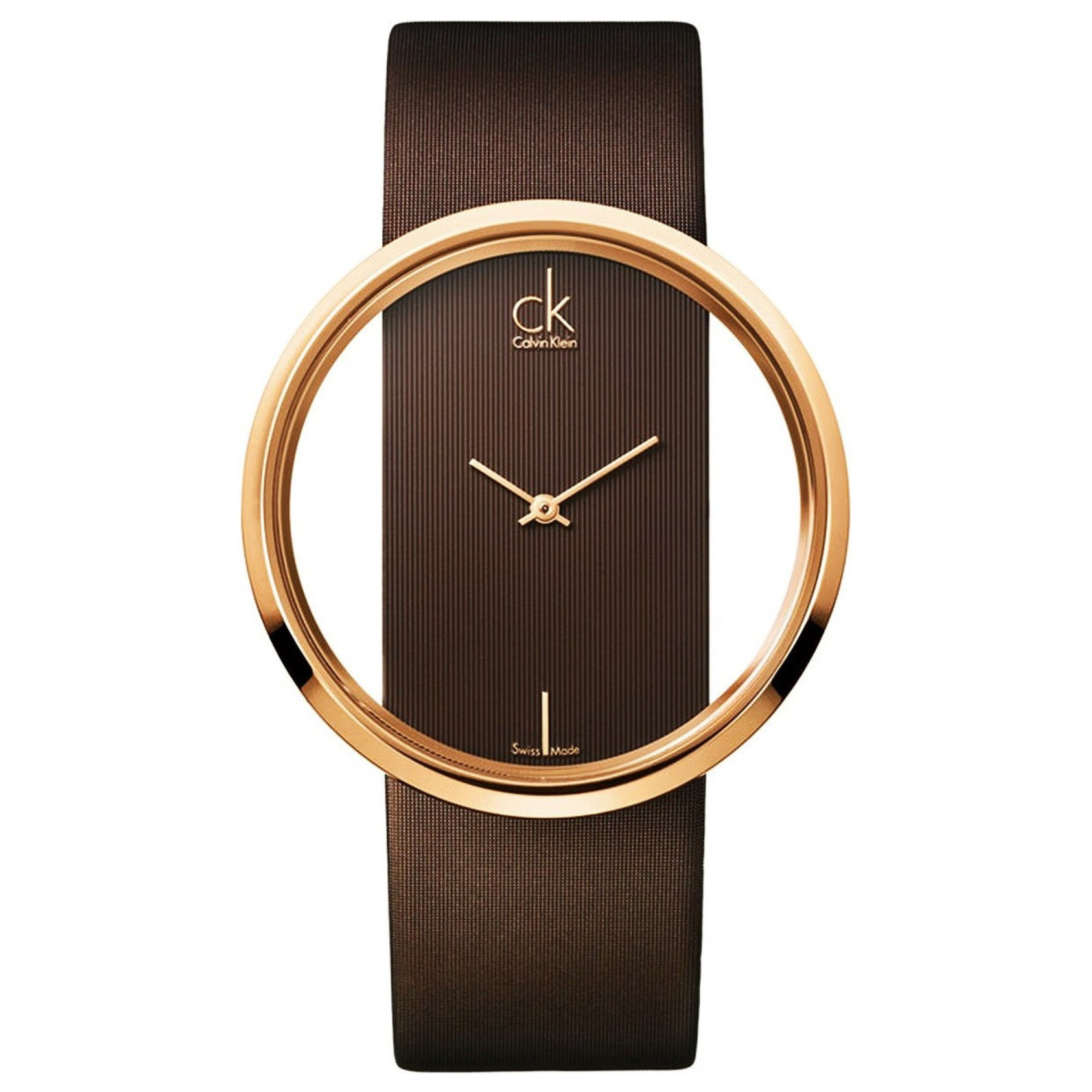 Calvin Klein Glam Ladies Watch K9423303 | PVD Rose Plated Case | Brown Leather Strap