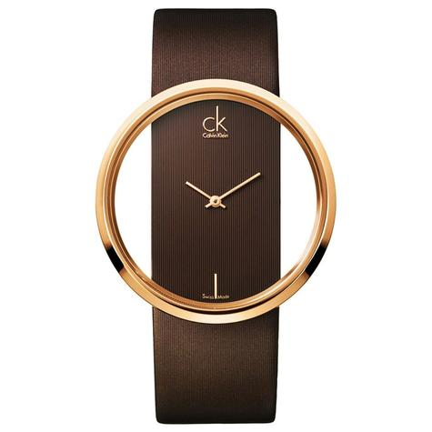 Calvin Klein Glam Ladies Watch K9423303 | PVD Rose Plated Case | Brown Leather Strap Thumbnail 1