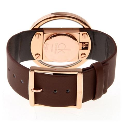 Calvin Klein Glam Ladies Watch K9423303 | PVD Rose Plated Case | Brown Leather Strap Thumbnail 2