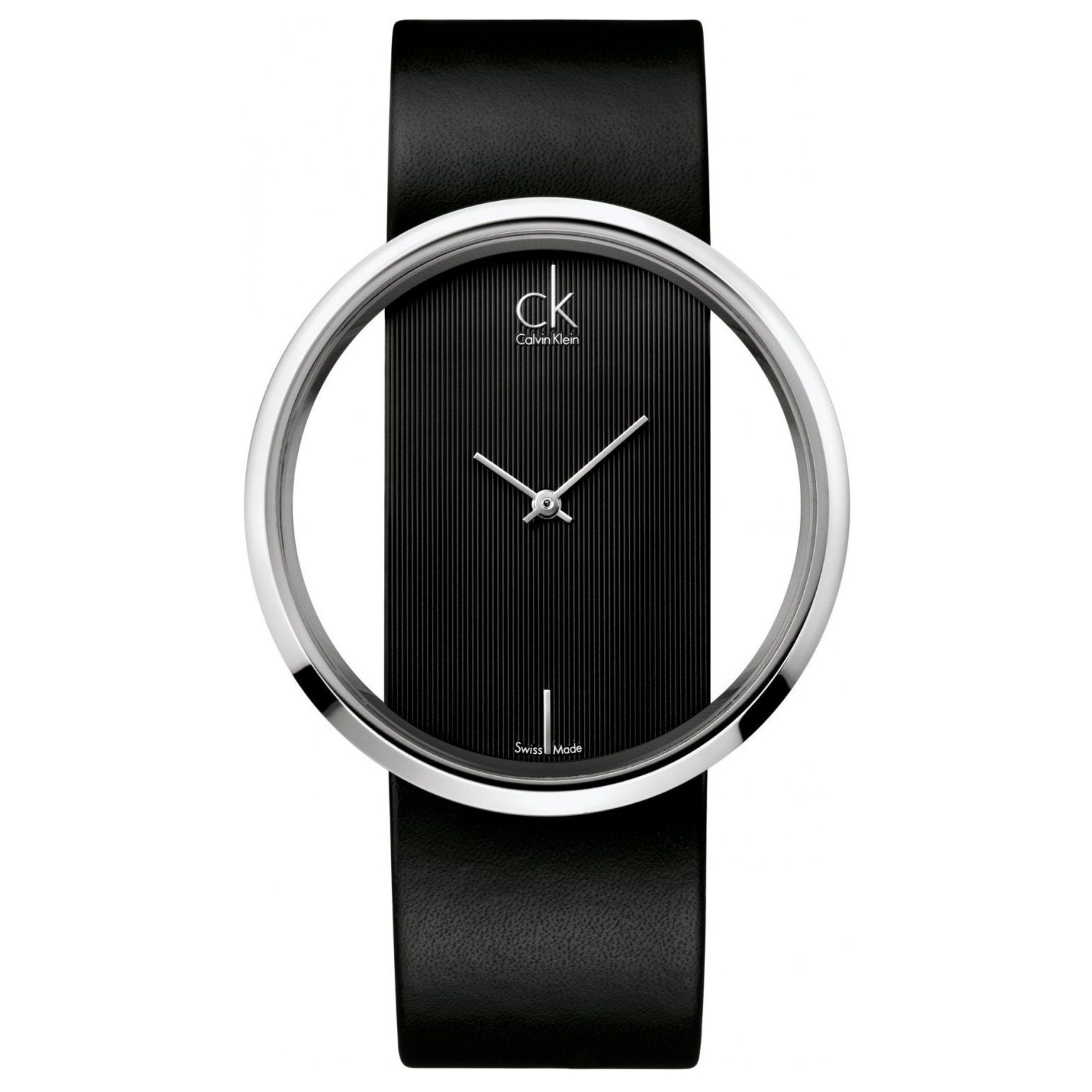 Calvin Klein Ladies Glam Watch K9423107 | Silver Stainless Case | Black Leather Band