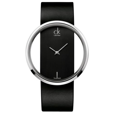 Calvin Klein Ladies Glam Watch K9423107 | Silver Stainless Case | Black Leather Band Thumbnail 1
