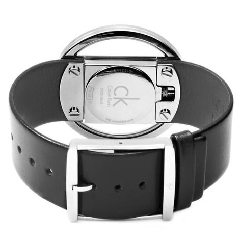 Calvin Klein Ladies Glam Watch K9423107 | Silver Stainless Case | Black Leather Band Thumbnail 2