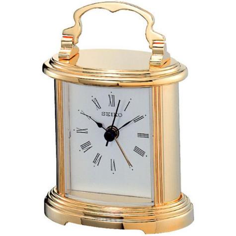 Seiko QHE109G Gold Vintage Retro Antique Style Desk Mantel Carriage Alarm Clock Thumbnail 1