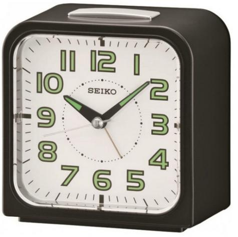 Seiko QHK025J Wecker Alarm Clock?Bell Alarm?Snooze?Black with White Face? Thumbnail 1