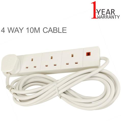 Value Range 4 Way Extension Lead | 10 Mtr Cable Length | 13amp Fused Plug | 4WAY10M | Thumbnail 1