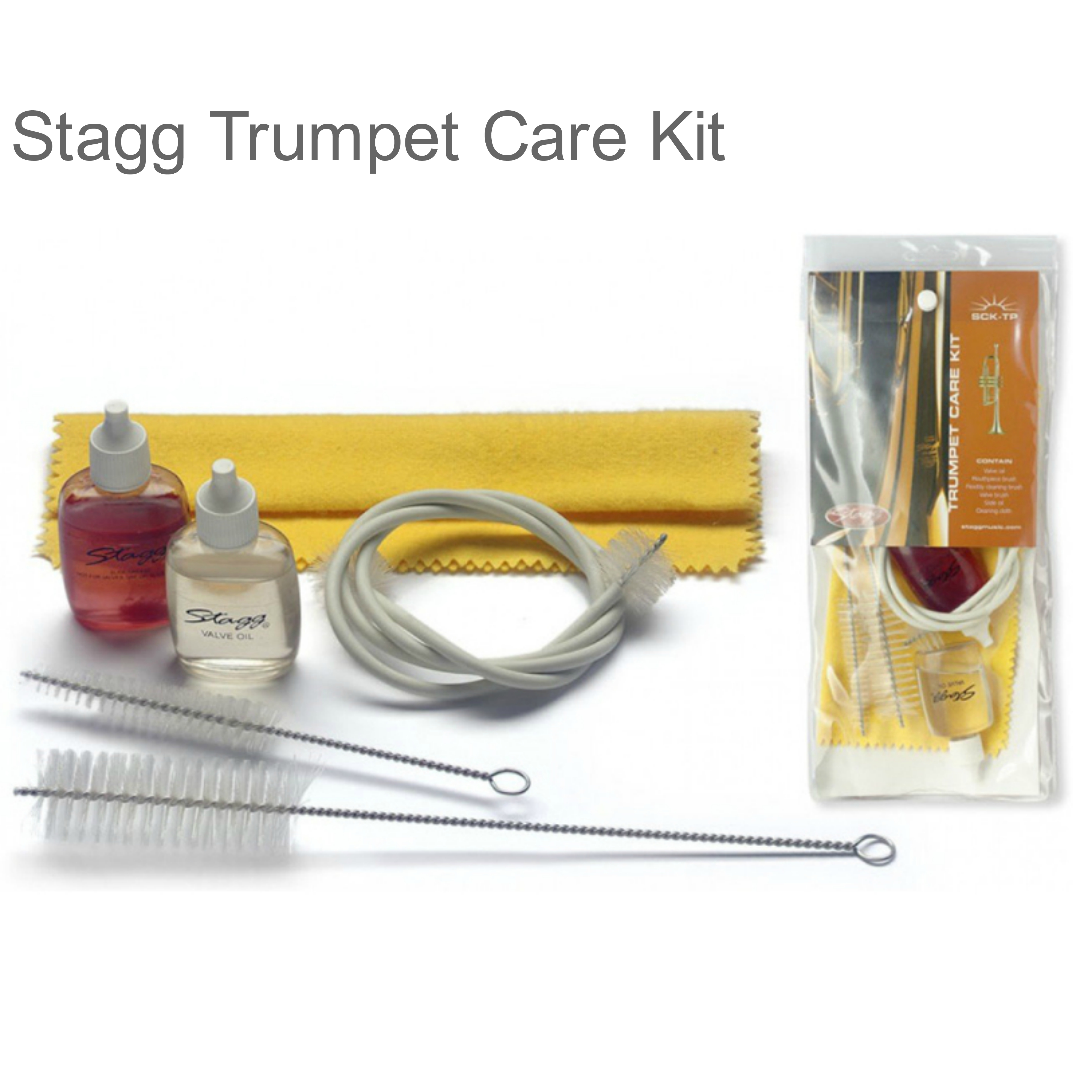 Stagg Trumpet Care Kit Set | Valve Oil-Mouthpiece Brush-Cleaning Cloth | SCKTP | NEW