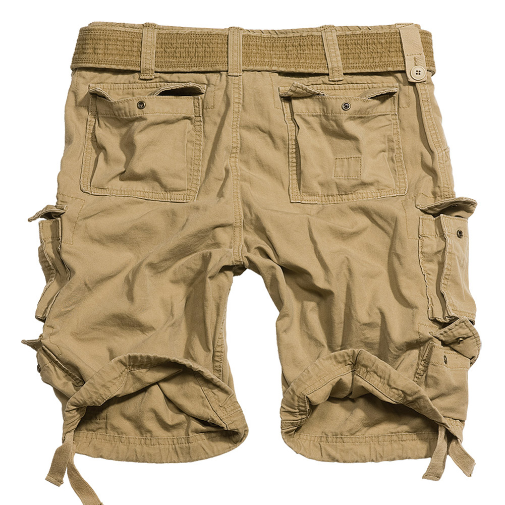 Sentinel Surplus Division Mens Combat Army Cargo Heavy Duty Work Shorts +  Belt Coyote Tan
