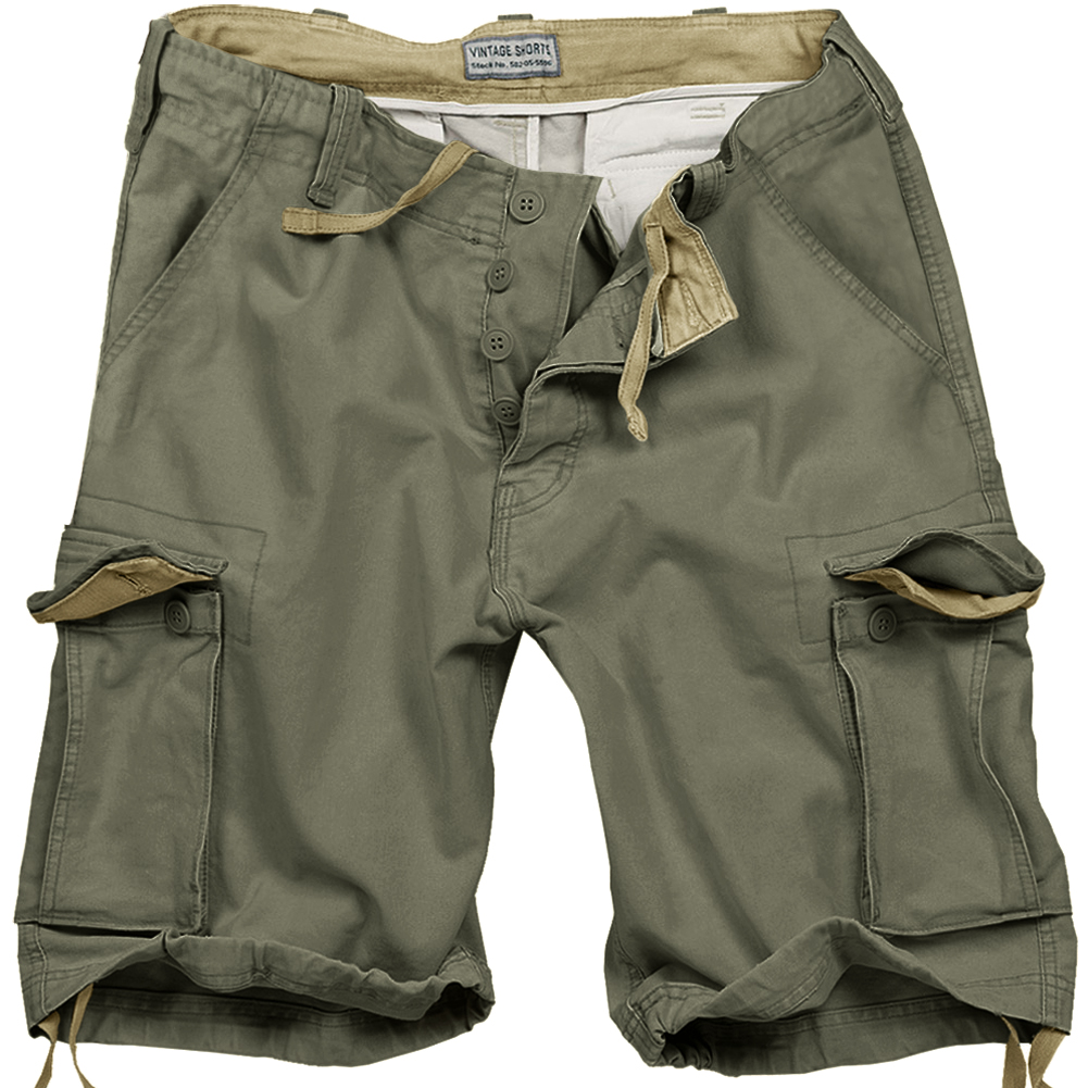 b1bb7d7f4 Details about SURPLUS ARMY STYLE MENS COMBAT VINTAGE CARGO SHORTS WASHED  COTTON OLIVE GREEN OD
