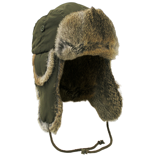 Sentinel WARM WINTER CAP RUSSIAN TRAPPER HAT OLIVE GREEN EAR FLAPS BROWN  RABBIT FUR S-XL 65c8004628f