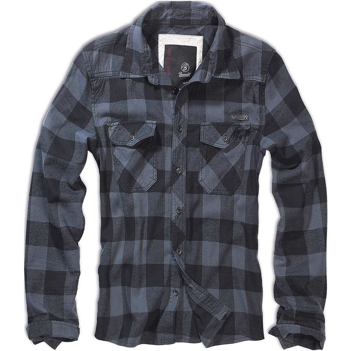 Sentinel Brandit Classic Cotton Check Flannel Top Mens Long Sleeve Work Shirt  Black Grey 065ba5e944e