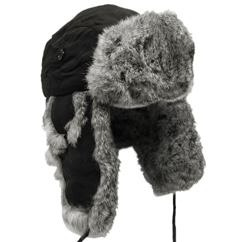 Sentinel Extra Warm Black Trapper Hat Russian Winter Cap Ear Flaps Grey  Rabbit Fur S-XL 80ea6f49bd7