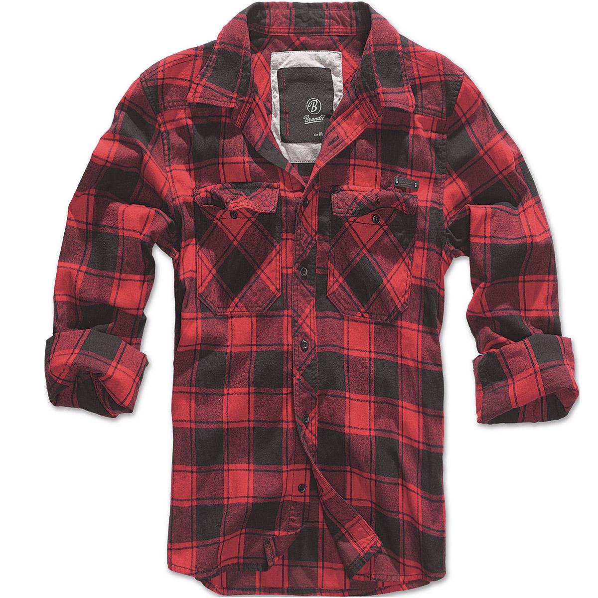 Brandit mens casual check cotton flannel shirt long sleeve for Best flannel shirt brands