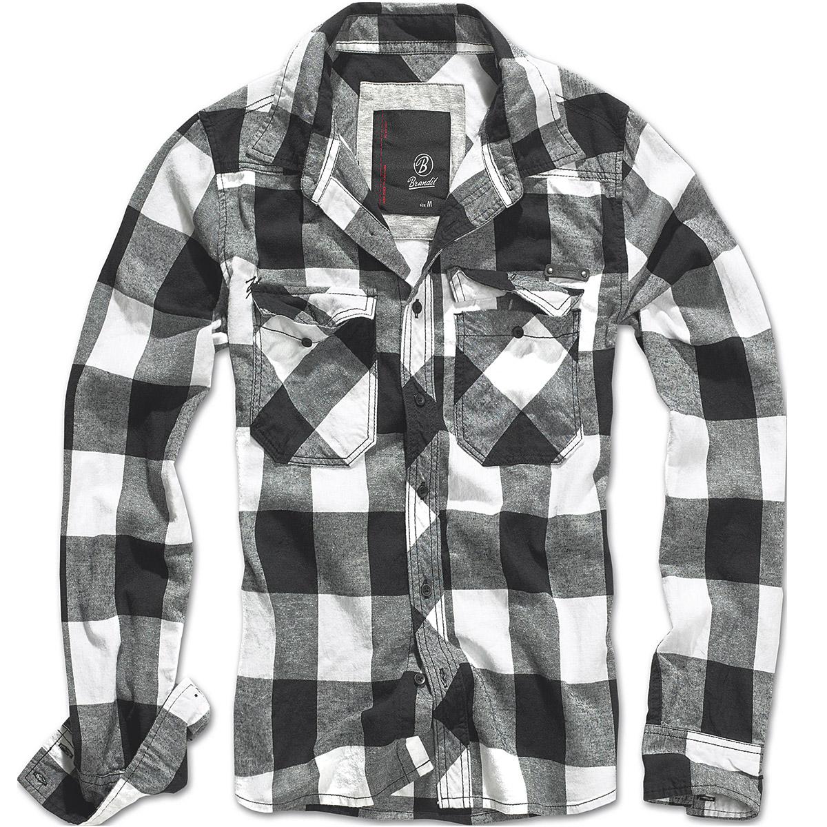 Brandit Classic Check Cotton Flannel Work Shirt Mens Long Sleeve ...