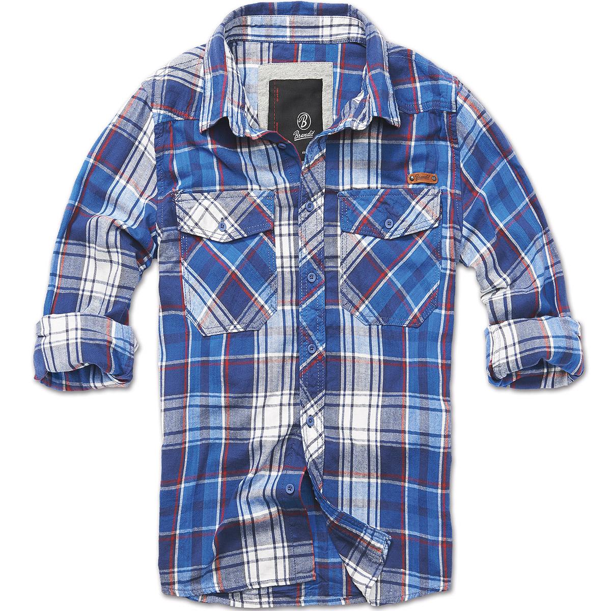 Brandit check cotton flannel shirt mens work long sleeve for Best flannel shirt brands