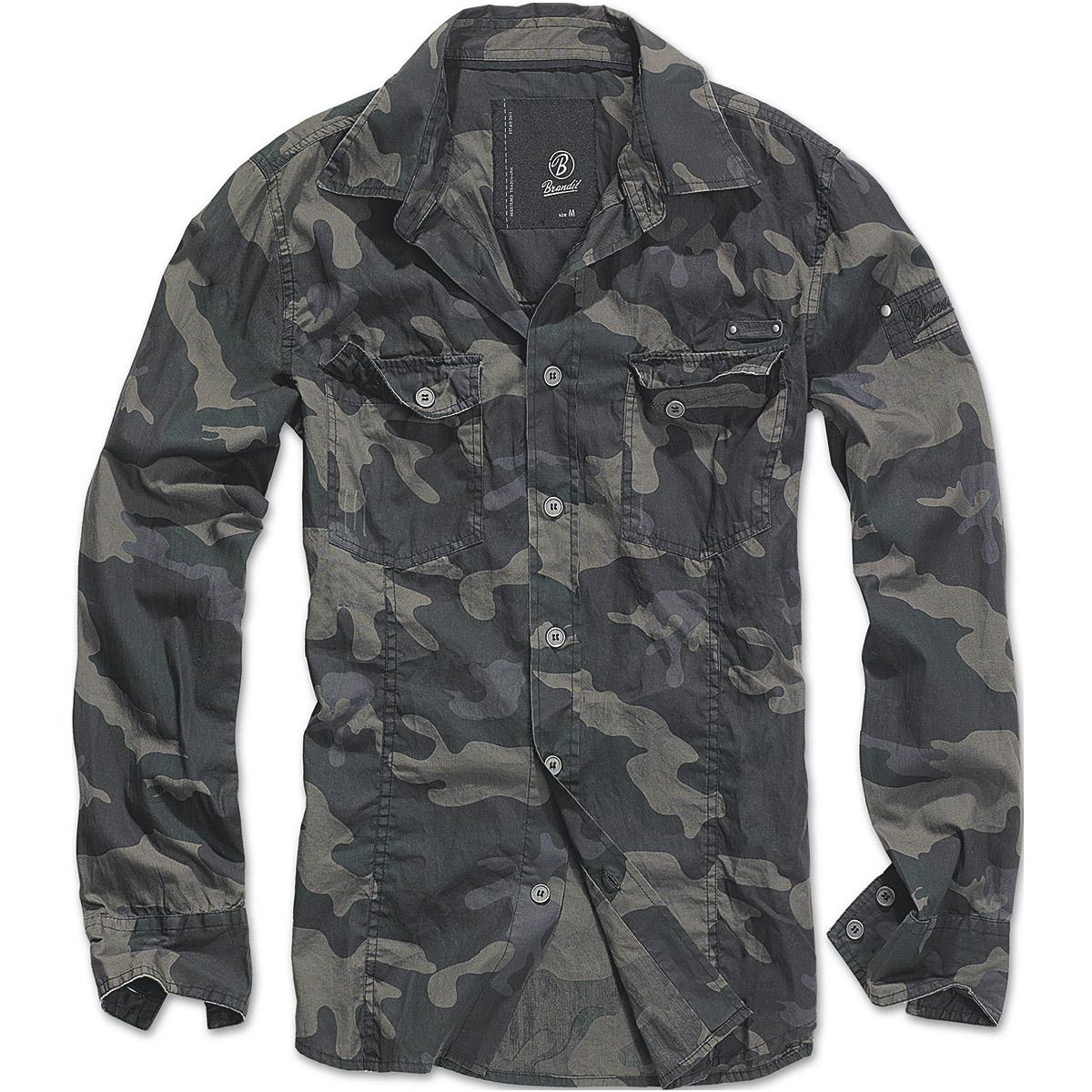 Brandit-Mens-Slimfit-Hiking-Shirt-Military-Long-Sleeve-