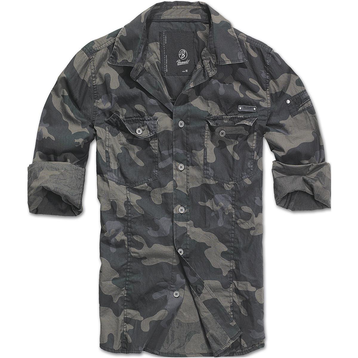 5241e99af97 Sentinel Brandit Mens Slimfit Hiking Shirt Military Long Sleeve Army Cotton  Top Dark Camo