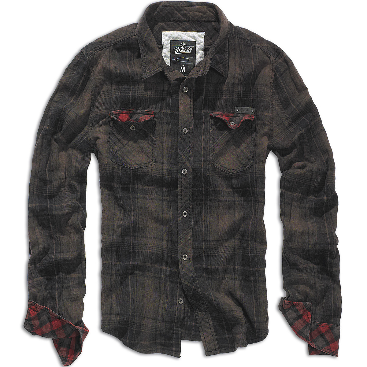 Brandit duncan vintage mens cotton flannel long sleeve for Black brown mens shirts