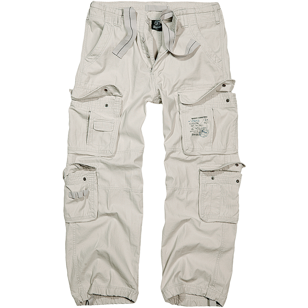 42b8b966d8 Details about BRANDIT MENS CLASSIC PURE VINTAGE COMBAT TROUSERS OFF DUTY  TRAVEL PANT OLD WHITE