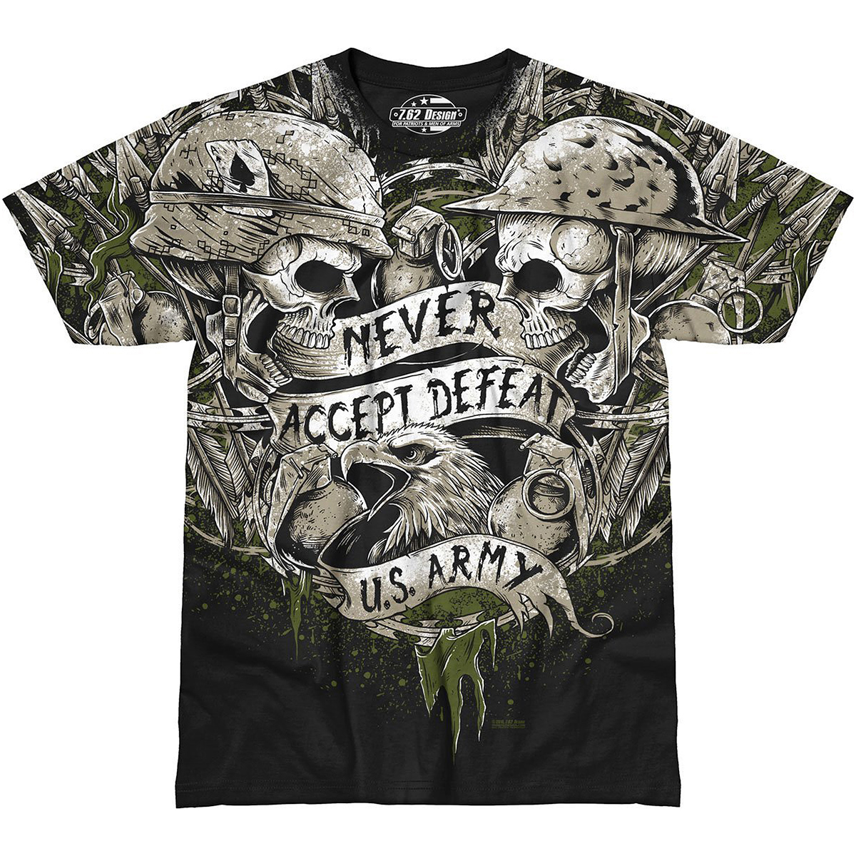 Sentinel 7.62 DESIGN MENS TEE ARMY NEVER ACCEPT DEFEAT T-SHIRT MILITARY  COMBAT TOP BLACK c897b79667e