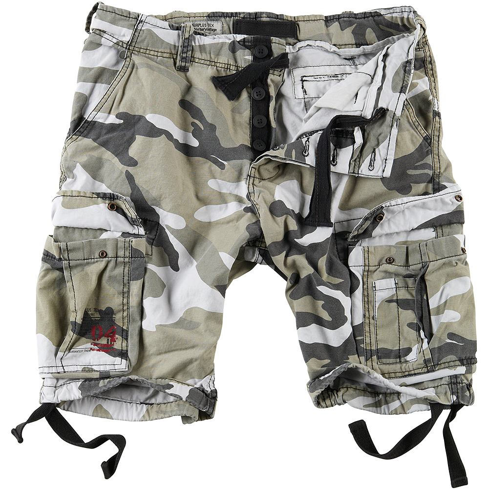 95f8b6383f2 Details about Surplus Army Airborne Vintage Cargo Pants Mens Military Shorts  Washed Urban Camo