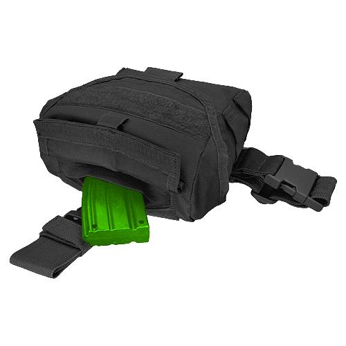 CONDOR DROP LEG DUMP POUCH MAGAZINE UTILITY MOLLE POCKET SHOOTING AIRSOFT BLACK