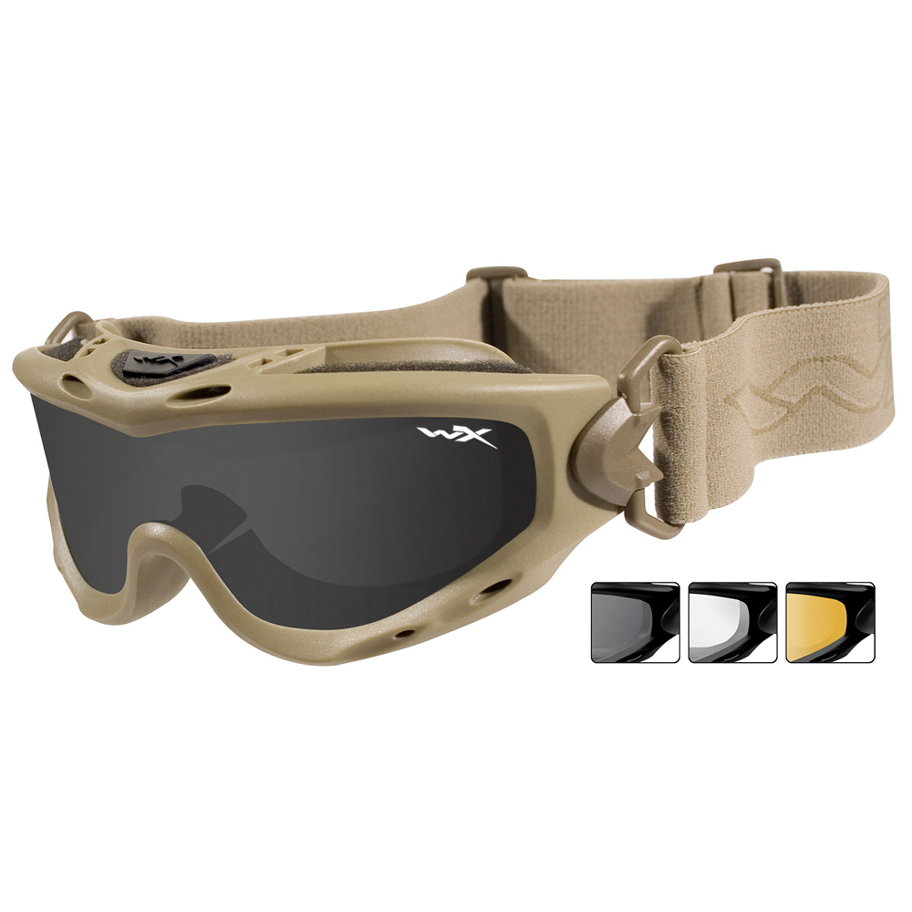 6671cb8eac Details about Wiley X Spear Goggles 3 Ballistic Lenses Tactical Airsoft  Swat Eyewear Tan Frame