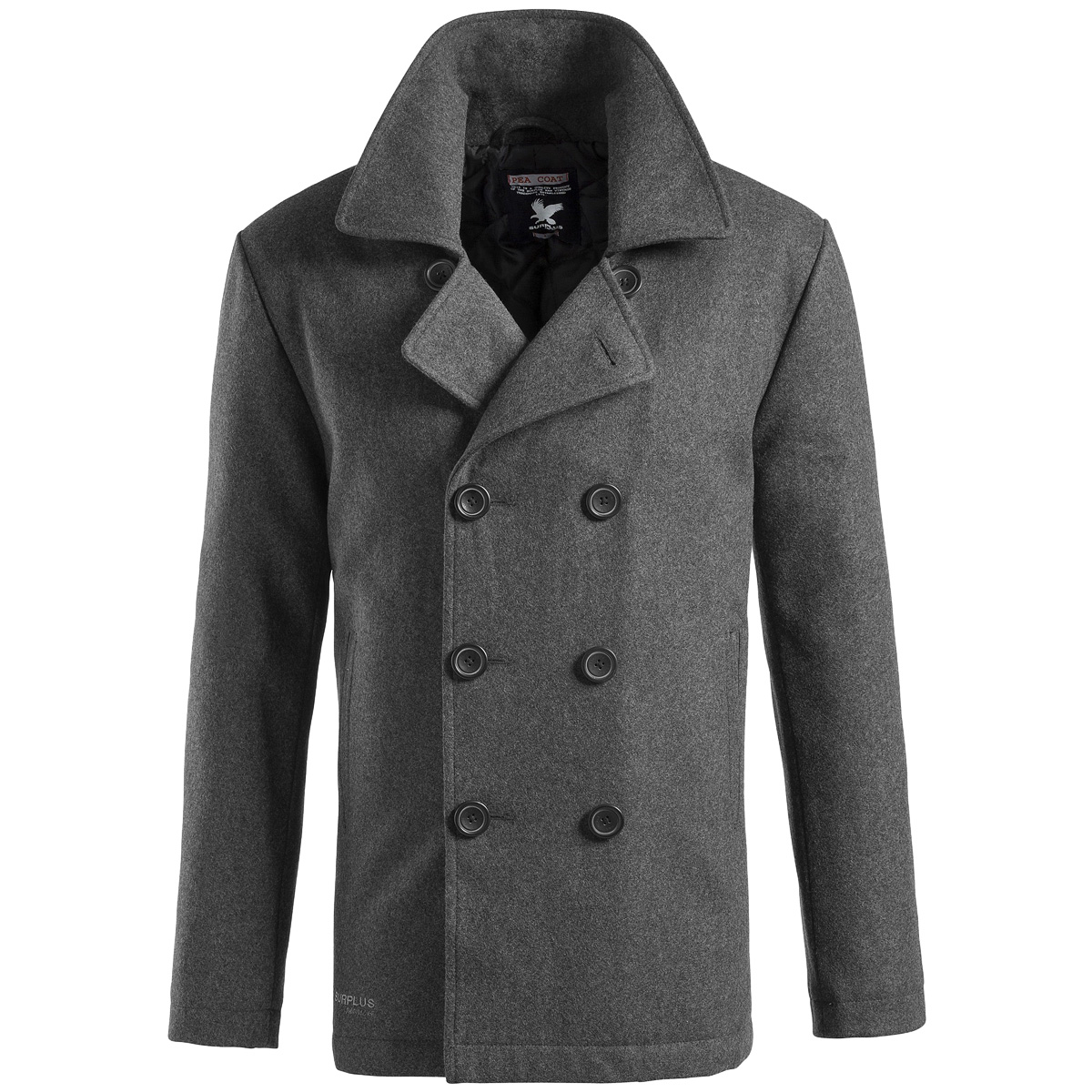 Surplus-Classic-Navy-Pea-Coat-Warm-Mens-Winter-Wool-Reefer-Jacket-Anthracite