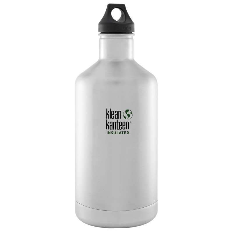 Brushed Stainless Klean Kanteen Classic 1900ML Vacuum Insulated Water Bottle with Loop Cap