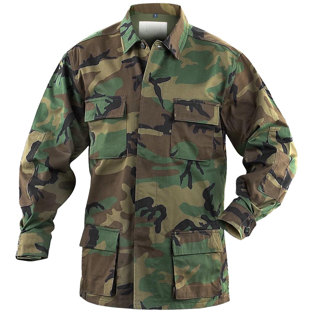 Teesar Tactical Mens Bdu Uniform Shirt Ripstop Cotton Hunting Jacket Woodland