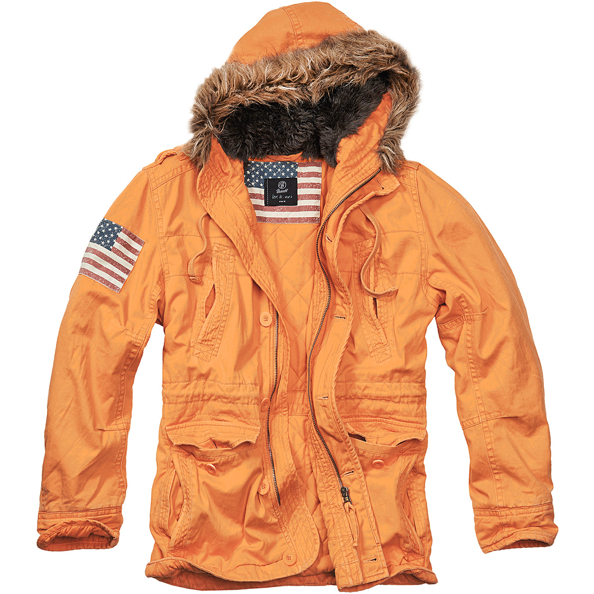 Brandit Vintage Stars & Stripes Parka Warm Mens Explorer Jacket ...