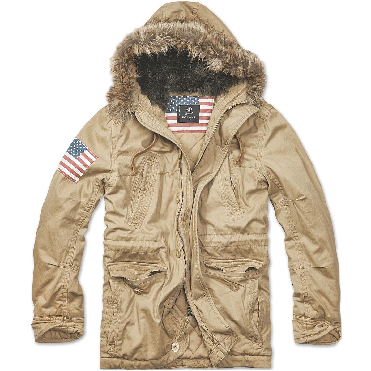 Brandit-Vintage-Explorer-Parka-Estrellas-amp-Rayas-Militares-Capa-Hombres-Chaqueta
