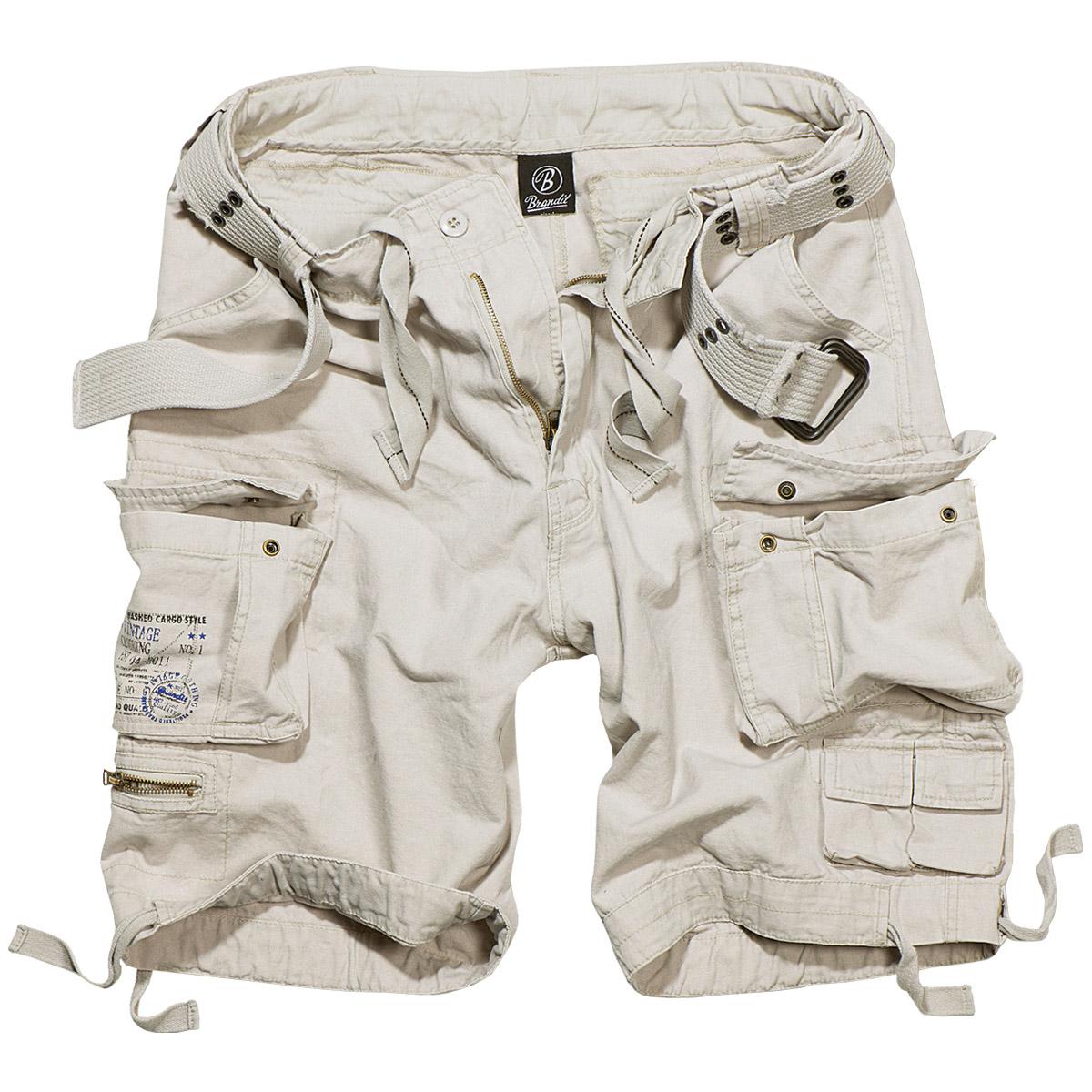 Brandit Savage Vintage Mens Combat Cargo Shorts Summer Hiking Cotton Old White