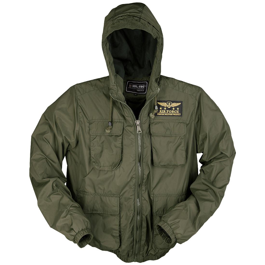 Mil-Tec Tactical Air Force Summer Mens Jacket Military Pilot Hooded Coat Olive