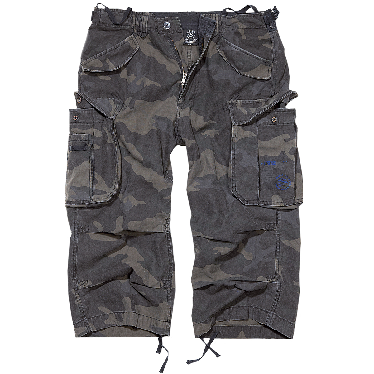 f180241ffd40 Sentinel Brandit Industry Vintage 3 4 Shorts Outdoor Cotton Casual Mens  Bottoms Dark Camo
