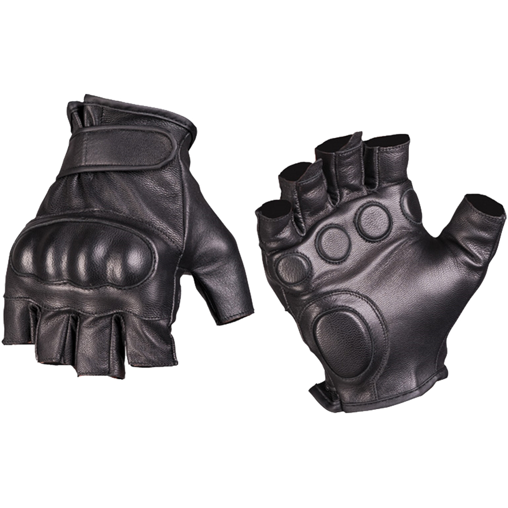79303bb7a Details about Mil-Tec Tactical Fingerless Leather Gloves Military Mens  Security Mittens Black