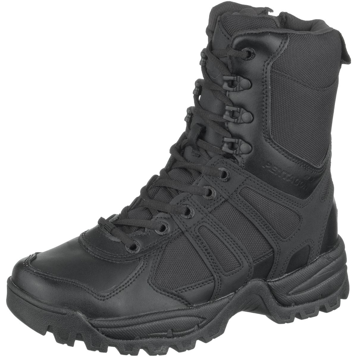 Pentagon Scorpion Side Zip Stiefel Schwarz Taktische Sicherheit Leder Schuhe Schwarz Stiefel cda56c