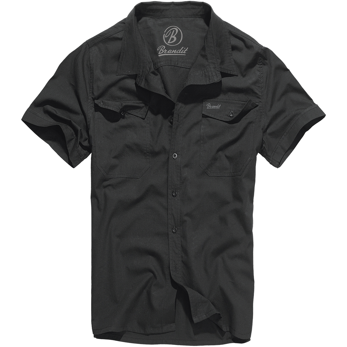 Brandit Roadstar Cotton Check Flannel Top Mens Short Sleeve Sailing Shirt Blue