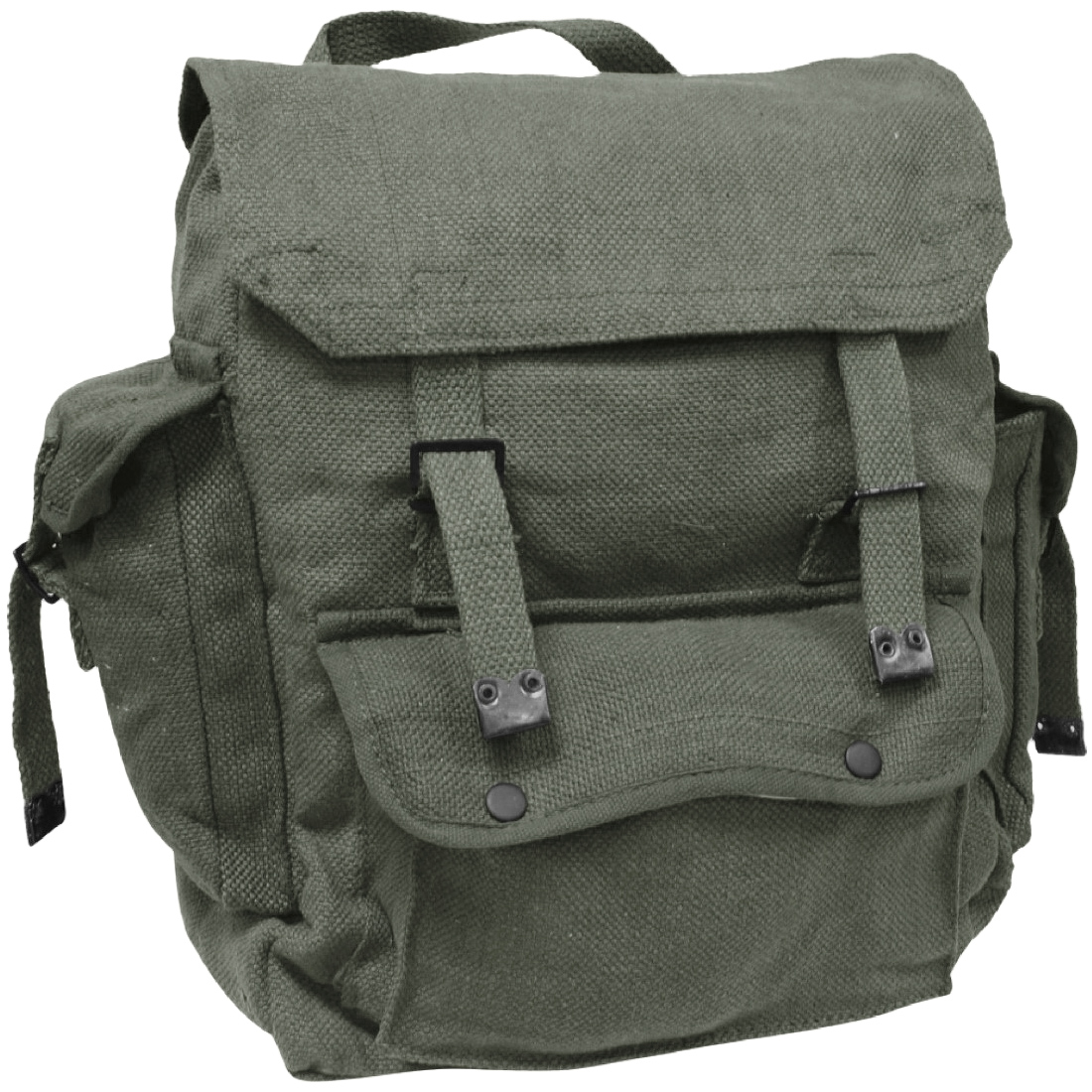 ea869e132 Details about Highlander Large Pocketed Web Backpack Hiking Cotton Bag Canvas  Rucksack Olive