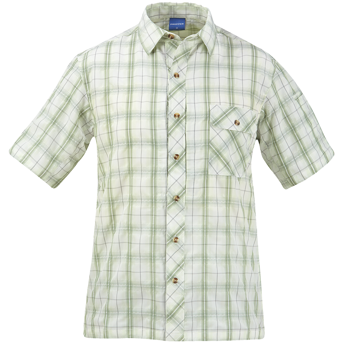 Propper Covert Button-Up Short Sleeve Shirt Tactical Security Mens Sage Plaid