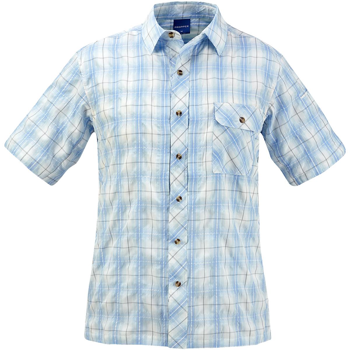 Propper-Covert-Button-Up-Corto-Manga-Camisa-Uniforme-Hombres-Azul-Claro-Tartan