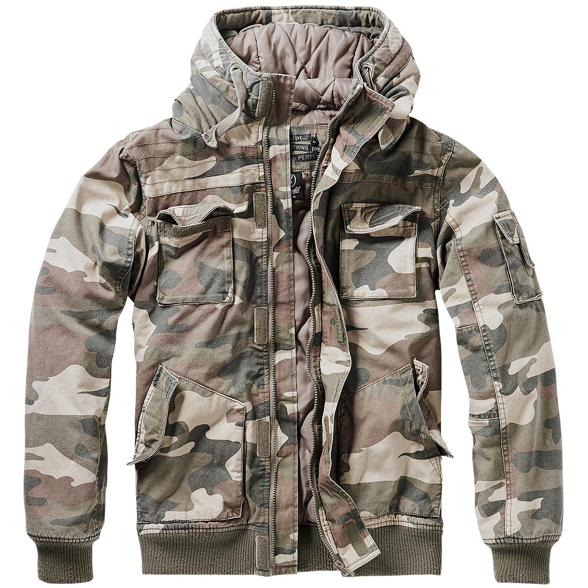 Brandit Bronx Jacket Mens Police Army Coat Warm Hooded Parka Light Woodland Camo