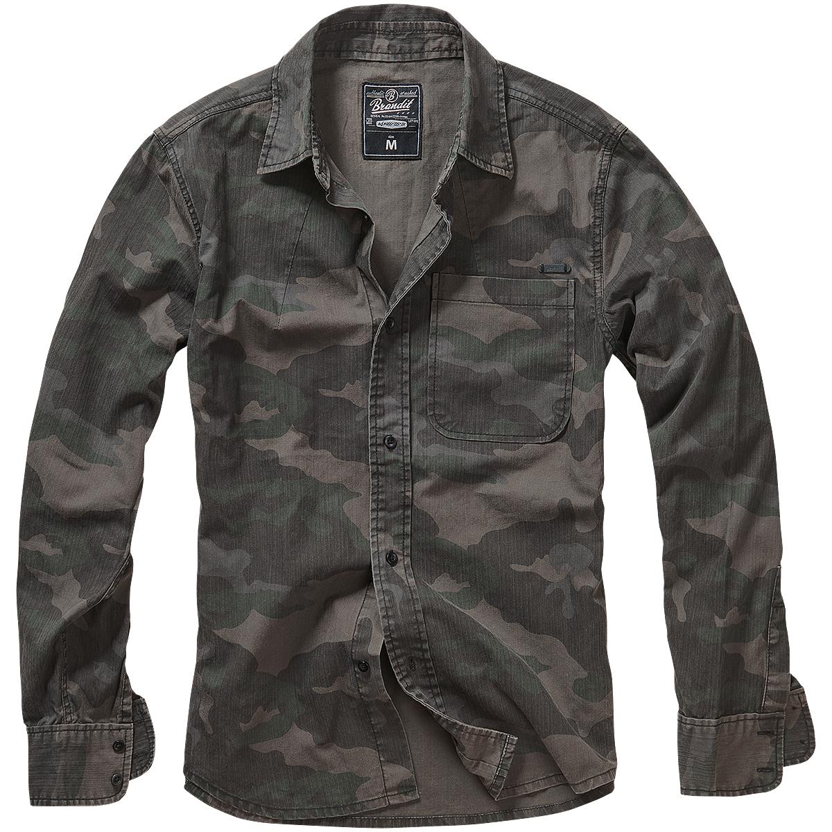 Brandit-Josh-Camisa-Manga-Larga-Senderismo-Hombres-Ejercito-Algodon-Dark-Camo