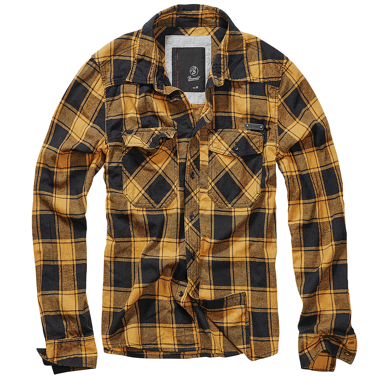 Safety Yellow Shirts >> Brandit Check Shirt Fred Flannel Mens Plaid Top Casual Long Sleeve Black Yellow | eBay