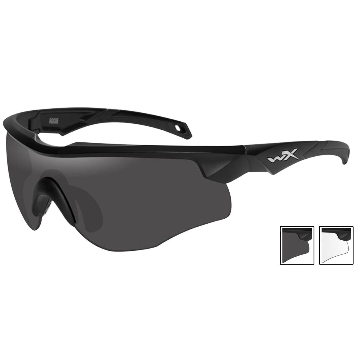 ae0b81db15e Details about Wiley X WX Rogue Glasses Ballistic Sport Smoke Grey Clear  Lens Matte Black Frame
