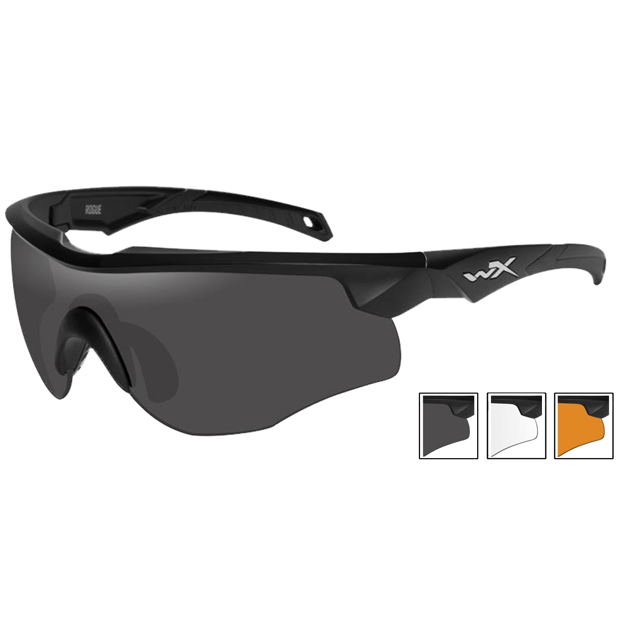 aa57e5c3eb Details about Wiley X WX Rogue Glasses Smoke Grey Clear Light Rust Lenses  Matte Black Frame