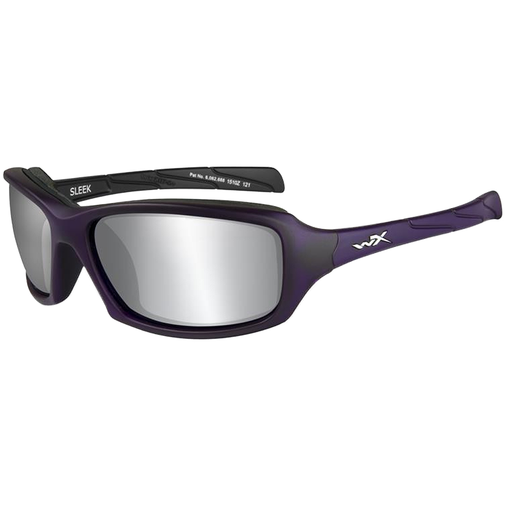 gran descuento 6b6ed aee0b Detalles de Wiley X WX Sleek Gafas Sport Smoke Grey Silver Flash Lente  Violeta Mate Montura